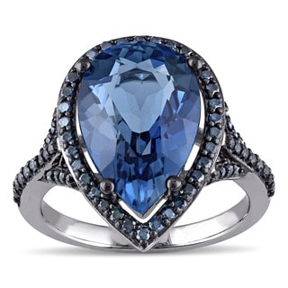 Miadora 14k Blue Rhodium Plated White Gold Pear-cut London Blue Topaz and 1/2ct TDW Blue Diamond Halo Teardrop Engagement Ring