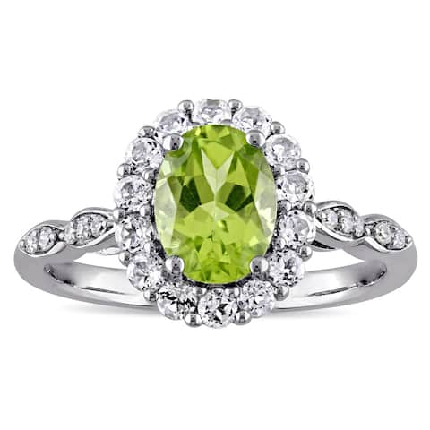 Miadora 14k White Gold Oval-cut Peridot White Topaz and Diamond Accent Halo Engagement Ring - Green