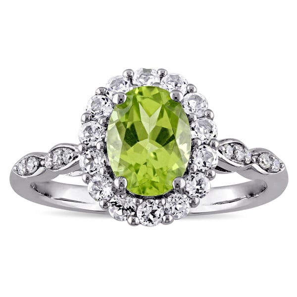 Miadora 14k White Gold Oval-cut Peridot White Topaz and Diamond Accent Halo Engagement Ring - Green. Opens flyout.