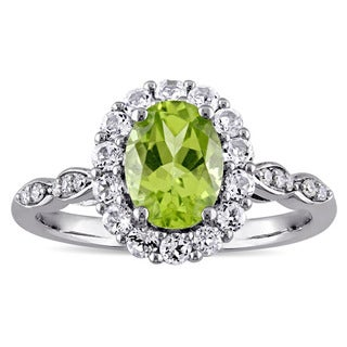 Miadora 14k White Gold Oval-cut Peridot White Topaz and Diamond Accent Halo Engagement Ring