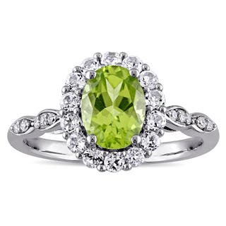 Miadora 14k White Gold Oval-cut Peridot White Topaz and Diamond Accent Halo Engagement Ring|https://ak1.ostkcdn.com/images/products/12193487/P19041966.jpg?impolicy=medium