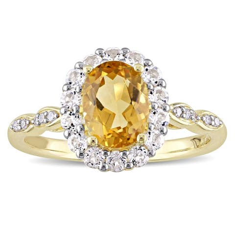 Miadora 14k Yellow Gold Oval-cut Citrine White Topaz and Diamond Accent Halo Engagement Ring