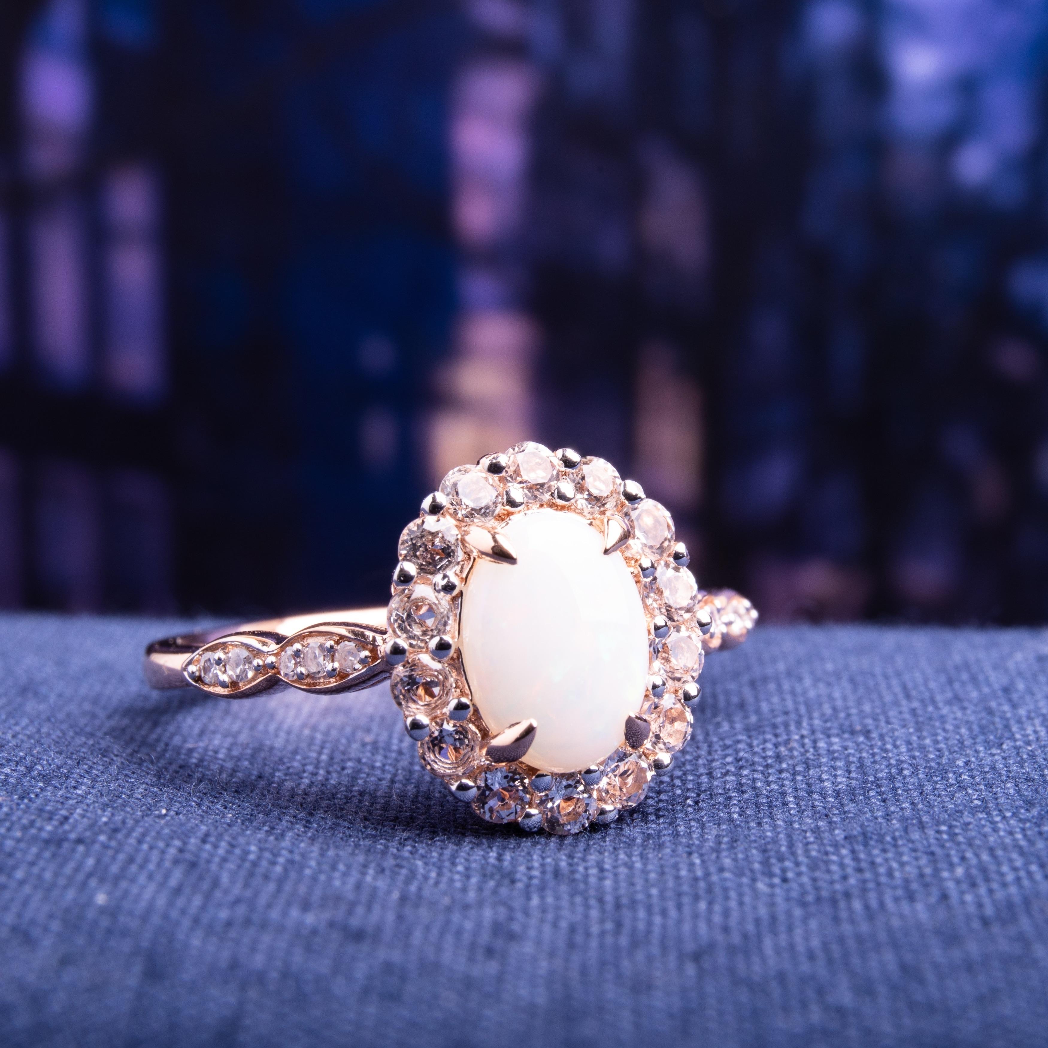 14k Rose Gold Round White Fire Opal Engagement Wedding Ring Fashion Jewelry USA
