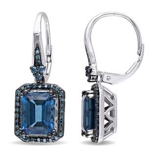 Miadora 14k Blue Rhodium Plated White Gold London Blue Topaz and 1/2ct TDW Blue Diamond Halo Leverback Earrings