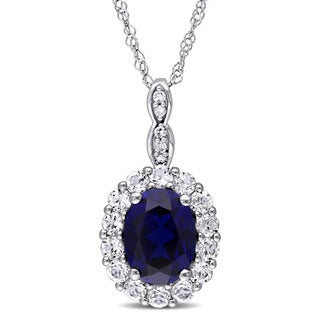 Miadora 14k White Gold Oval-cut Created Blue Sapphire White Topaz and Diamond Accent Halo Necklace