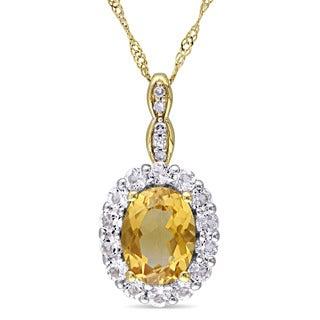 Miadora 14k Yellow Gold Oval-cut Citrine White Topaz and Diamond Accent Halo Necklace