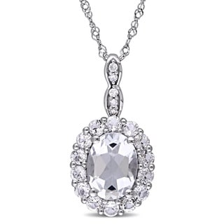 Miadora 14k White Gold Oval-cut White Topaz and Diamond Accent Halo Necklace