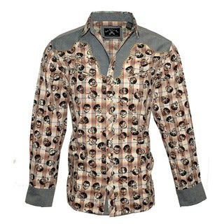 Men's 'Plaid of Skulls' Long Sleeve Western Fashion Multicolor Cotton Button Front Woven Shirt by Rock Roll n Soul