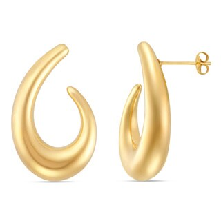 Forever Last 14k 'J' Polished Hoop Earrings with Crysal Accents