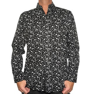 Rock Roll N Soul Men's Black 'Music on My Mind' Casual Button-up Fashion Cotton Wovenl Shirt