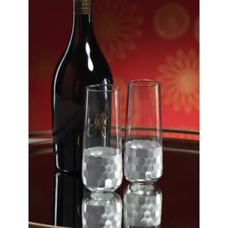 Cut Stemless Champagne Glass Set