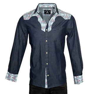 Men's 'Fly on the Side' Long Sleeve Western Casual Button Up Fashion Shirt by Rock Roll n Soul