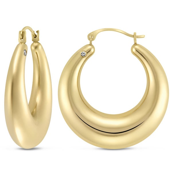 14K Yellow Gold Large Polished Graduated Hoop Earrings with Crystal Accent. 3ef7e86f3721