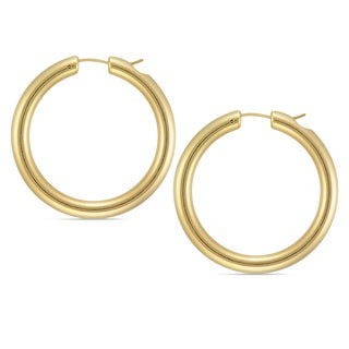 Forever Last 14k Round Polished Hoop Earring with Crystal Accent