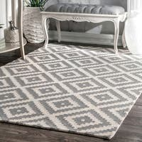 nuLOOM Handmade Abstract Wool Fancy Pixel Trellis Rug (9' x 12') - 9' x 12'