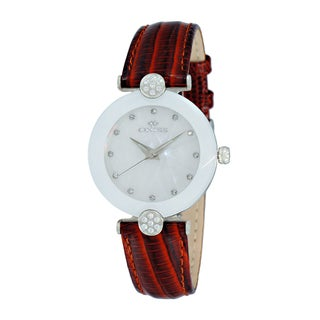 Oniss Ladies' ON8776 Swiss Facet Silvertone and White Stainless Steel and Leather Crystal Watch