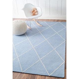 nuLOOM Handmade Dotted Trellis Wool Kids Nursery Baby Blue Rug (9' x 12')
