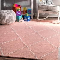 The Gray Barn Big Ben Handmade Wool Trellis Baby Pink Area Rug (5' x 8')