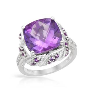 Magnolia 10k White Gold 7ct TW Amethyst Cocktail Ring (Size 8)