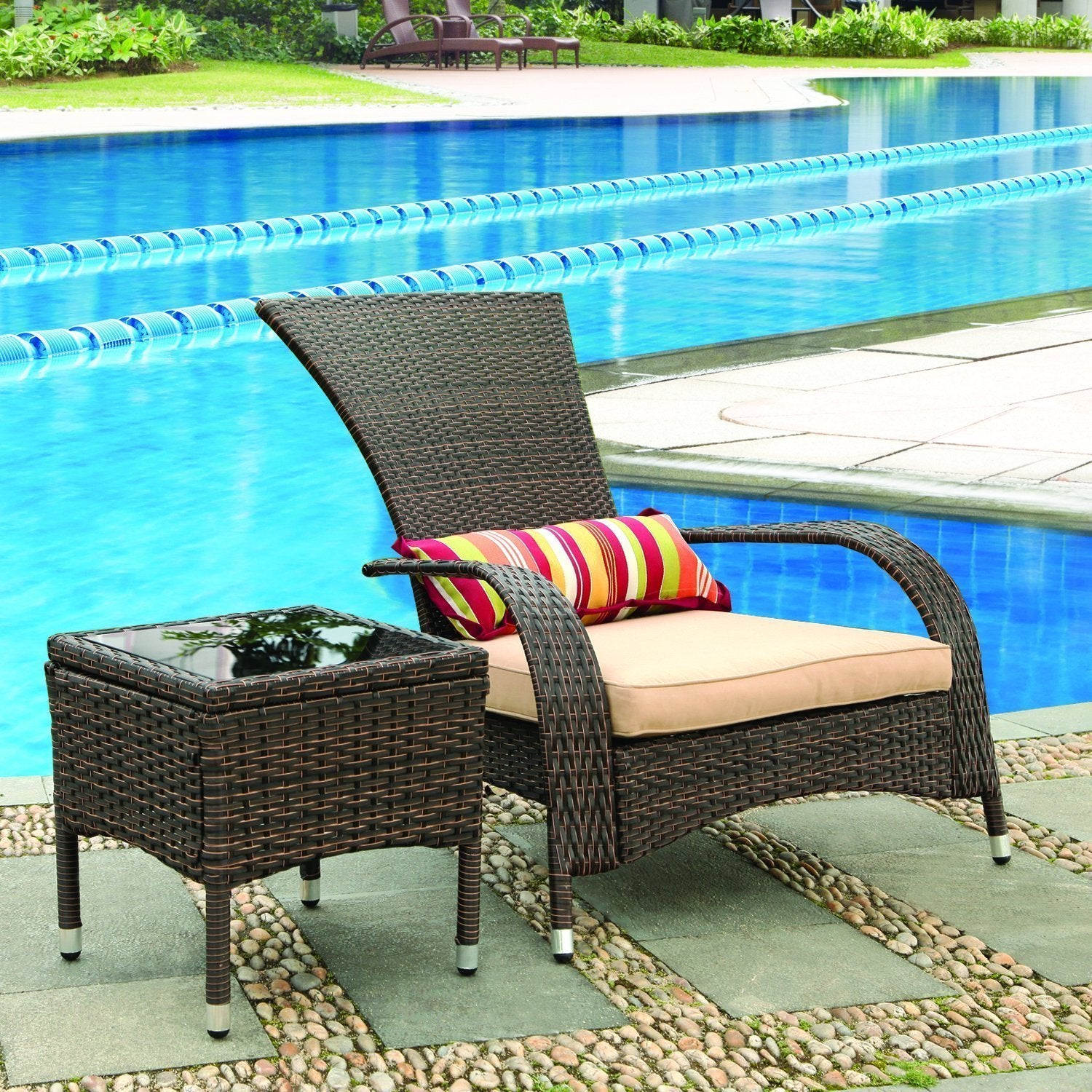 Adeco Extra-Comfortable Patio Entertainment Set Wicker Ch...