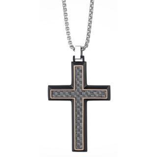 Stainless Steel and Carbon Fiber Men's Cross Pendant Neckalce