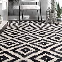 nuLOOM Handmade Abstract Wool Fancy Pixel Trellis Rug - 9' x 12'