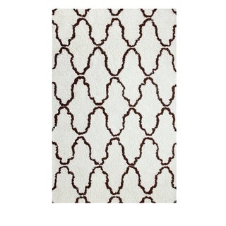Superior Trellis Collection Hand Woven and Soft Shag Rug (4'x6')