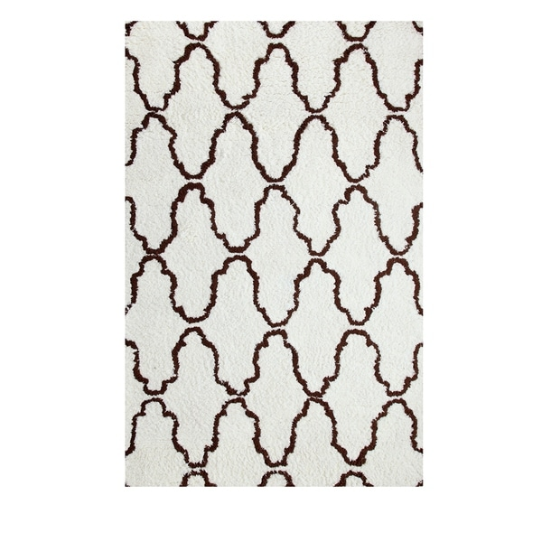 Superior Trellis Collection Hand Woven and Soft Shag Rug (8'x10')