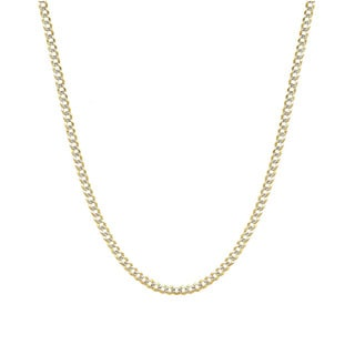 Decadence 14K Yellow Gold 210 Lite Cuban White Pave Chain