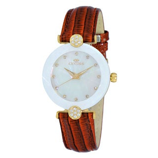 Oniss Women's Swiss -inchFacet-inch Stainless Steel and Leather Crystal Watch