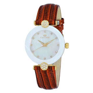 Oniss Women's Swiss -inchFacet-inch Stainless Steel and Leather Crystal Watch|https://ak1.ostkcdn.com/images/products/12193925/P19042408.jpg?impolicy=medium