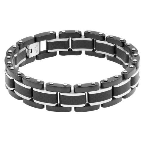 Black Stainless Steel Carbon Fiber Men's Bracelet