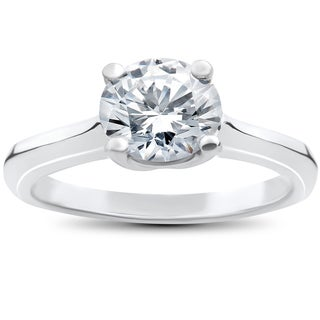 14k White Gold 1 1/2ct TDW Diamond Clarity Enhanced Solitaire Round Brilliant Cut Engagement Ring