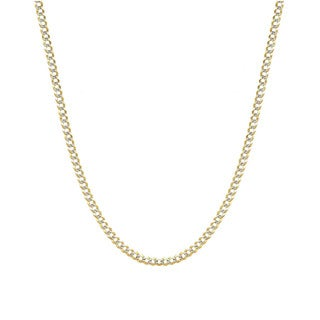 Decadence 14k Yellow Gold 180 Lite Cuban White Pave Chain