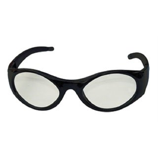 Stingers Black Safety Glasses with Clear Clamshell