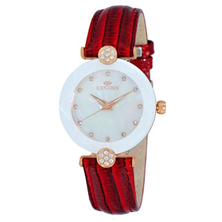 Oniss Ladies ON8776 Swiss 'Facet' Rose-tone/White Stainless Steel and Red Leather Crystal Watch