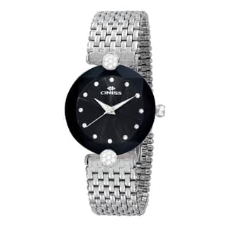 Oniss ON8777 Ladies Swiss -inchFacet II-inch All Stainless Steel Watch-Silver tone/Black https://ak1.ostkcdn.com/images/products/12194046/P19042637.jpg?impolicy=medium