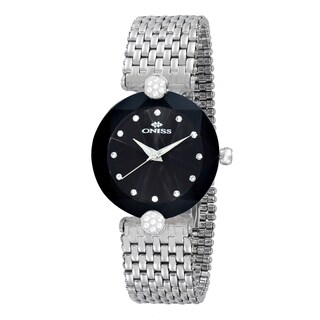 Oniss ON8777 Ladies Swiss -inchFacet II-inch All Stainless Steel Watch-Silver tone/Black