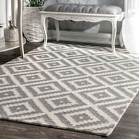 nuLOOM Handmade Abstract Wool Fancy Pixel Trellis Rug - 4' x 6'