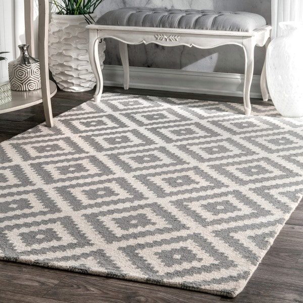 nuLOOM Handmade Abstract Wool Fancy Pixel Trellis Rug 4 x 6