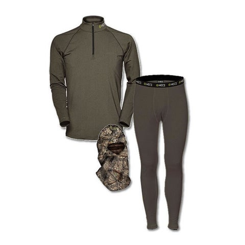 HECS Olive Green Base Layer 3-Piece Pants and Shirt