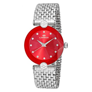 Oniss ON8777 Women's Facet II Silvertone/Red Stainless Steel Watch