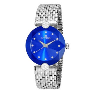 Oniss Women's Stainless Steel Silver Tone/Blue Swiss 'Facet II' Watch
