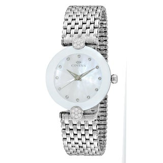 Oniss ON8777 Women's Facet II Silvertone/White Stainless Steel Watch