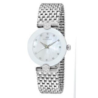 Oniss ON8777 Women's Facet II Silvertone/White Stainless Steel Watch https://ak1.ostkcdn.com/images/products/12194095/P19042640.jpg?impolicy=medium