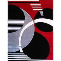 Moon & Earth transitional White Red Black Silver Hand Carved Area Rug - 5'3 x 7'5