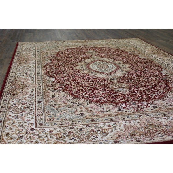 Burgundy Tabriz Persian Area Rug - 8' x 11'