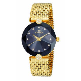 Oniss ON8777 Ladies Swiss -inchFacet II-inch All Stainless Steel Watch-Gold tone/Black|https://ak1.ostkcdn.com/images/products/12194193/P19042641.jpg?impolicy=medium