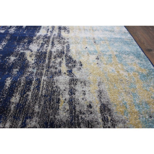 Make In Turkey Blue Off White Black Yellow Area Rug 2
