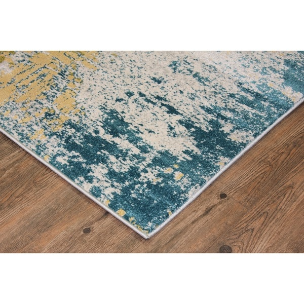 Make In Turkey Silver, Grey, Blue, Green, Yellow Area Rug   2u0026